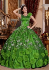 Green Ball Gown V-neck Quinceanera Dresses with Beading Appliques