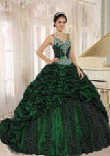 Special Fabric Pick-ups Spagetti Straps Green Quinceanera Dresses with Appliques