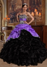 Ball Gown Sweetheart Pick-ups Dresses For a Quinceanera with Zebra and Ruffles