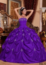 Purple Ball Gown Strapless Appliques  Dresses For a Quince