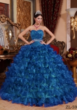 Peacock Blue Puffy Sweetheart For 2014 Beading Quinceanera Dress with Ruffles