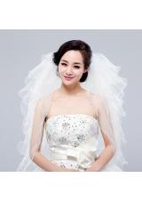 Multi-Tier Pencil Edge Elbow Bridal Veils Whites Bridal Veils