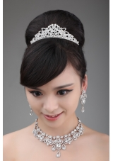 Luxurious Rhinestone and Alloy Dignified Ladies' Tiara and Necklace