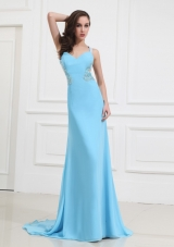 2014 Brand new Straps Aqua Blue Prom Dress with Beading