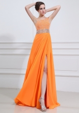 2014 Popular One Shoulder Orange Prom Dress with Beading