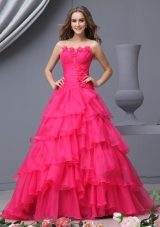 Wonderful Strapless A-Line Hot Pink Prom Dress for 2014