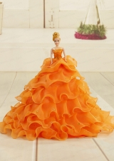 2015 Orange Organza Bowknot Barbie Doll Dress