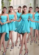 2015 Ruching A Line Chiffon Lace Up Bridesmaid Dress