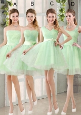 2015 Ruching Organza A Line Mini Length Bridesmaid Dress with Lace Up