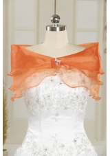 Beautiful Organza Beading Orange Shawls for Wedding