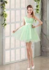 2015 Natural Organza A Line Belt Dama Dress
