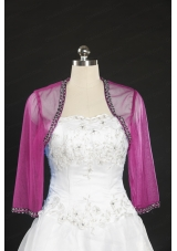 2014 Long Sleeves Hot Pink Wraps with Beading