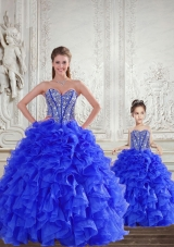 Fashionable Royal Blue Princesita Dress with Beading and Ruffles for 2015