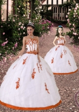 2015 Trendy Appliques Princesita Dress in White and Orange Red