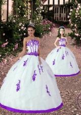 Fashionable Appliques White and Eggplant Purple Princesita Dress for 2015