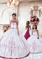 Trendy Fuchsia Embroidery White Princesita Dress for 2015