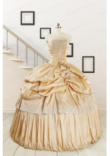 2015 Brand New Champagne Quinceanera Dresses with Appliques