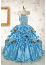 New Style Aqua Blue Quinceanera Dresses with Beading for 2015