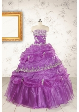 Pretty Strapless Lilac Quinceanera Dresses with Appliques for 2015