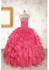 Hot Pink Strapless Beading and Ruffles Ball Gown 2015 Quinceanera Dresses