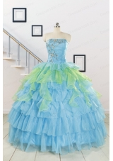 Pretty Beading Strapless Multi-color Quinceanera Dress for 2015