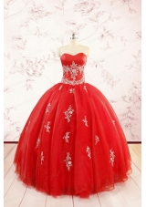 Most Popular Red Puffy Quinceanera Dresses with Appliques