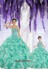 Apple Green Sweetheart Organza Beading and Ruffles Princesita Dress