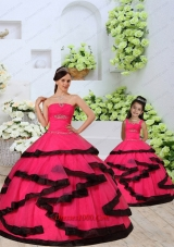 Beading and Ruching Organza Red Princesita Dress with Layers