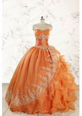 2015 Cheap Appliques Quinceanera Dresses in Orange