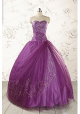 2015 Formal Sweetheart Purple Quinceanera Dresses with Appliques