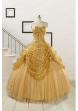 2015 Most Popular Sweetheart Sequined Quinceanera Dresses in Gold