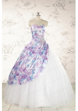 2015 Printed Multi-color Quinceanera Dresses with Beading and Ruching
