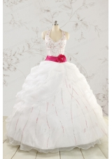 Elegant Halter Belt Beading White Quinceanera Dresses for 2015