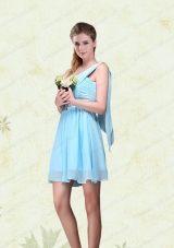 2015 Elegant Ruching One Shoulder Chiffon Prom Dresses