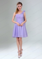Gorgeous Mini Length Lavender Prom Dress with Ruching and Handmade Flower