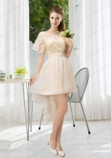 Lace High Low Short Sleeves Prom Dress with One Shoulder
