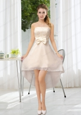 Luxurious Strapless A Line Prom Dress with Belt and Lace