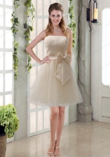 Popular Champagne Strapless Princess Bowknot Prom Dresses for 2015