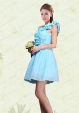 Ruching and Ruffles One Shoulder Chiffon Prom Dresses