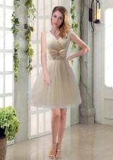 Beautiful Champagne Bowknot Princess Prom Dresses with V Neck