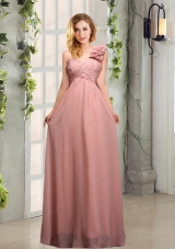 Empire Ruching One Shoulder Prom Dresses with Hand Made Flowers