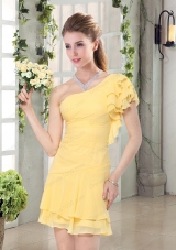 Flirting One Shoulder Cap Sleeve Prom Dresses Mini Length