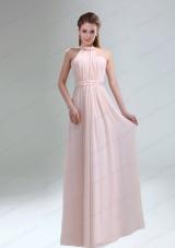Romantic 2015 High Neck Chiffon Light Pink Mother of the Bride Dresses