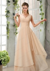 Ruching V Neck Chiffon Prom Dresses in Champagne