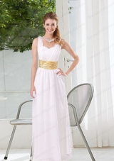 Natural White Empire Straps Ruching Mother of the Bride Dresses