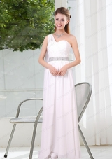 One Shoulder Empire Ruching Sequins White Mother of the Bride Dresses