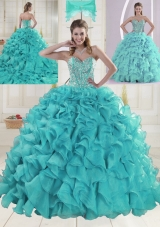 Aqua Blue Sweetheart Brush Train Beading Quinceanera Dresses