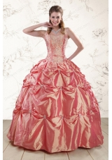 Beautiful Beading and Appliques Watermelon Red Sweet 16 Dresses for 2015