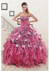 Exquisite Beading Hot Pink Sweet 15 Dress with Leopard for 2015