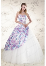 2015 Cheap Puffy Multi Color Quinceanera Dresses with Beading